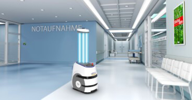 Slika UV dezinfekcija z mobilnim robotom OMRON LD