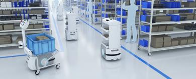 Slika Rešitve v logistiki z uporabo mobilnih robotov OMRON